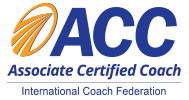 Associate Certified Coach logo in blue and gold